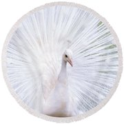 White Peacock Round Beach Towel