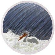 White Pelican Over The Dam Round Beach Towel