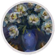 White Peonies Round Beach Towel
