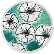 White Petunias- Floral Abstract Painting Round Beach Towel