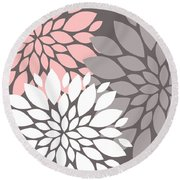 White Pink Gray Peony Flowers Round Beach Towel