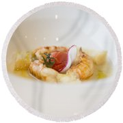 White Plate With Food Round Beach Towel