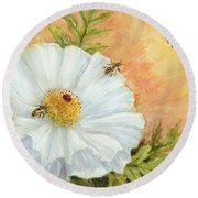White Poppy And Bees Round Beach Towel
