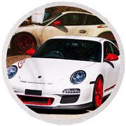 White Porsche Gt3rs Round Beach Towel