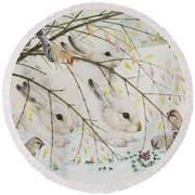 White Rabbits Round Beach Towel