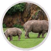 White Rhino 11 Round Beach Towel