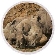 White Rhino 3 Round Beach Towel