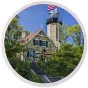 White River Lighthouse In Whitehall Michigan No.057 Round Beach Towel