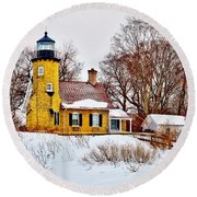 White River Winter Panoramic Round Beach Towel