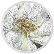 White Rose Abstract Round Beach Towel