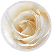 White Rose Heart Round Beach Towel
