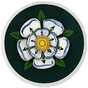 White Rose Of York Round Beach Towel