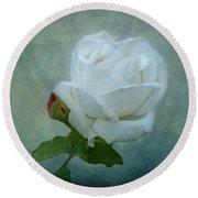 White Rose On Blue Round Beach Towel