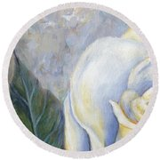 White Rose One Panel One Of Four Round Beach Towel