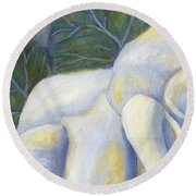 White Rose Two Panel One Of Four Round Beach Towel
