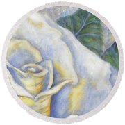 White Rose Two Panel Two Of Four Round Beach Towel