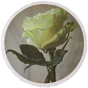 White Rose With Old Paper Texture Round Beach Towel