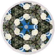 White Roses And Babys Breath Kaleidoscope Round Beach Towel