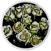 White Roses - Moving On Round Beach Towel