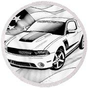 White Roush Mustang Round Beach Towel