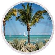 White Sails. Mauritius Round Beach Towel