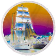 White Sails Ship And Colorful Background Round Beach Towel