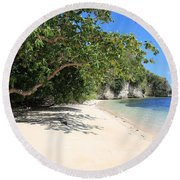 White Sand And Blue Sky Round Beach Towel