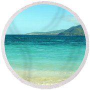 White Sand Blue Sky Blue Water Round Beach Towel