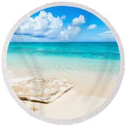 White Sand Round Beach Towel by Chad Dutson