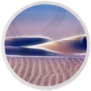 White Sands Abstract Round Beach Towel