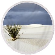 White Sands Dark Sky Round Beach Towel by Bob Christopher
