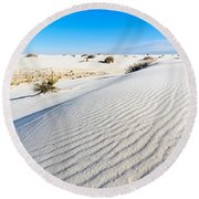 White Sands - Morning View White Sands National Monument In New Mexico. Round Beach Towel