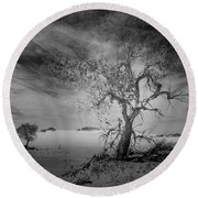 White Sands National Monument 1 Dark Mono Round Beach Towel