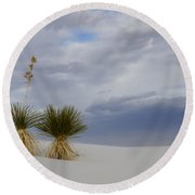 White Sands New Mexico Yucca Plants Round Beach Towel