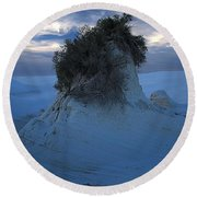 White Sands Turns Blue Round Beach Towel