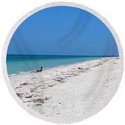 White Sandy Beach Round Beach Towel