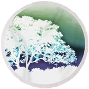 White Silhouette Of Oak Tree Against Blue And Green Watercolor Background Round Beach Towel