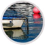 White Skiff - Lyme Regis Harbour Round Beach Towel