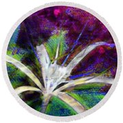 White Spider Flower On Orange And Plum - Vertical Round Beach Towel