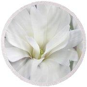 White Star Magnolia Flowers Round Beach Towel