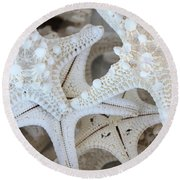 White Starfish Round Beach Towel by Carol Groenen