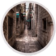 White Streets Of Dubrovnik No5 Round Beach Towel