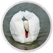 White Swan Swimming Round Beach Towel