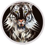 White Tiger 1 Round Beach Towel