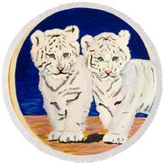 White Tiger Twins Round Beach Towel