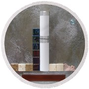 White Tower Round Beach Towel