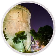 White Tower In Salonica Greece Round Beach Towel