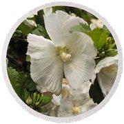 White Tree Flower Round Beach Towel