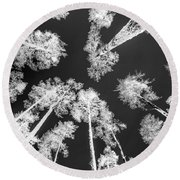 White Trees Round Beach Towel
