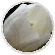 White Tulip 2 Round Beach Towel